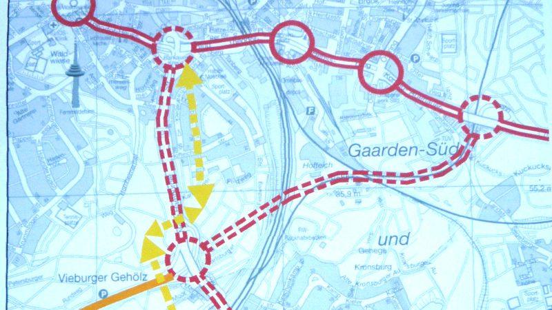 geplante Trasse der A21 mit Nebenstrecken