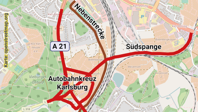 Geplante Trasse der A21 mit Nebenstrecke